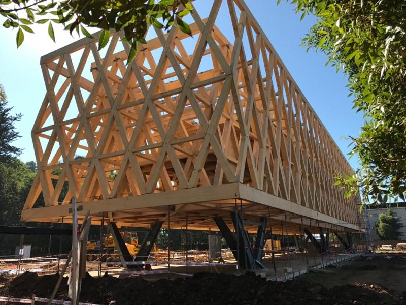 Montaje estructura de madera laminada edificio pabell n - Estructuras de madera laminada ...